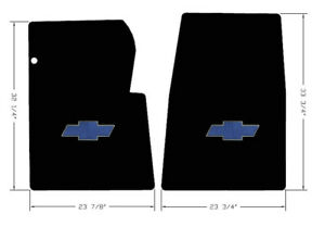 New Black Carpet Floor Mats 1984 1991 Chevy Pickup Truck Blue Embroidered Logo