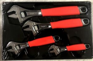 New Snap on Red Flank Drive Plus Adjustable Wrench Set 4 Pc 6 12 Fadh704b