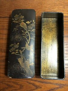 Vintage Wooden Lacquer Glove Box Black With Birds And Flowers