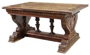 Table Draw Leaf Walnut Renaissance Revival Rectangular Early 1900s Gorgeous