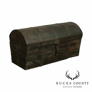 Antique Wooden Iron Strapped Treasure Chest Casket