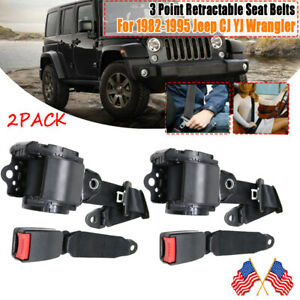 For 1982 1995 Jeep Cj Yj Wrangler Universal 3 Point Retractable Seat Belts X2