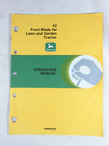John Deere 42 Snow Plow Front Blade Operator s Manual Fits Lawn Tractor 110