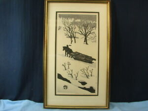 Vintage Signed Gihachiro Oruyama Japanese Wood Block Print Winter Scene