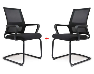 2 Pc Stainless Steel Executive Mesh Chair Cheap Desk Computer Armrests No Wheels