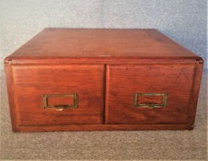 Vintage Weis Library Card File Catalog Oak Wood 2 Drawer File Box Free Shipping
