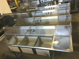 Sink New 90 3 Bowl With 2 Draining Tables Nsf Commercial