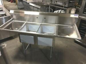 Sink New 68 2 Bowl With 2 Draining Tables Nsf Commercial