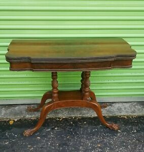 Vintage Burled Walnut Lift Top Game Table Clawfoot Carved Base