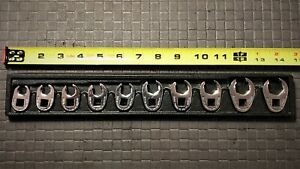 Snap On Tools 10 piece Metric Flare Nut Crowfoot Wrench Set 9 18mm Usa