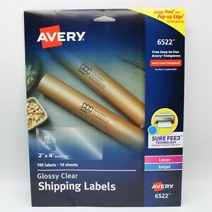 Avery Glossy Crystal Clear Address Labels 2 X 4 90 Labels Only 9 Sheets