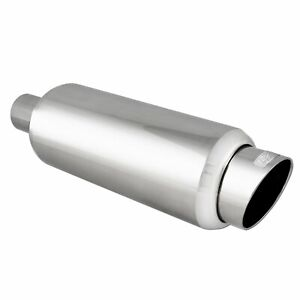 Dc Sports Round Stainless Muffler Slant Cut Tip Inlet 2 25 In Outlet 3 Ex5016