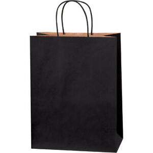 10 X 5 X 13 Inches Black Tinted Paper Kraft Mailers Shopping Bags Pack Of 250
