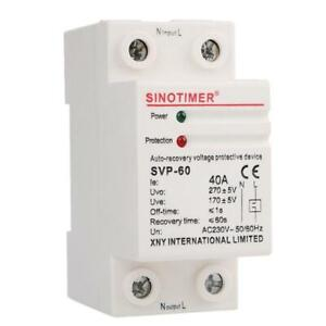 230v Ac 40a Din Rail Recovery Over Under Voltage Protector Device Self resetting
