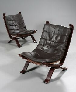 Vintage Danish Mid Century Leather Lounge Chairs By Ingmar Relling