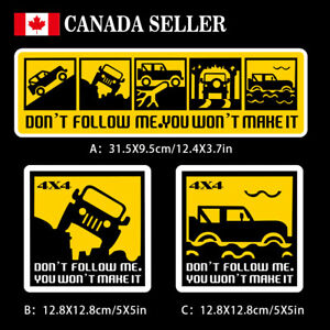 Reflective Dont Follow Me You Won T Make It Car Stickers Funny Off Road Suv