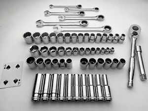 58pc Gearwrench Stanley Socket Wrench Set Sae Metric 3 8 1 2 Drive 12lbs