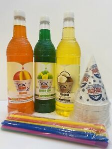 Snow Cone Syrup 3ct 750 Ml W 20 Cups 20 Spoon Straws Free Shipping m ll c