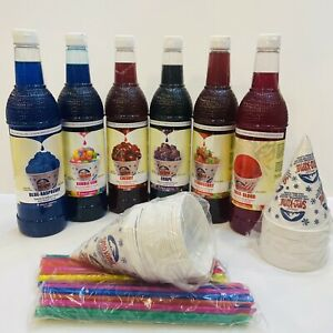 Snow Cone Syrup Variety Pack 25 36oz 6pk 50 Cups Straws free Shipping