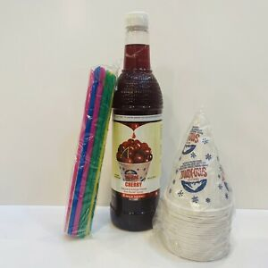 Cherry Snow Cone Syrup 1ct 750 Ml W 20 Cups Straws Free Shipping