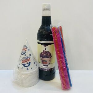Grape Snow Cone Syrup 1ct 750 Ml W 20 Cups Straws Free Shipping