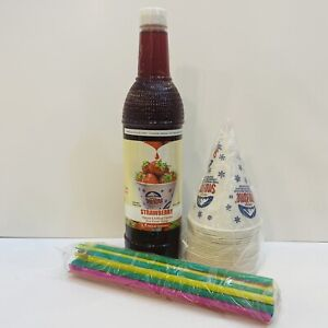 Strawberry Snow Cone Syrup 1ct 750 Ml W 20 Cups Straws Free Shipping