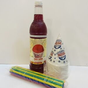 Tigers Blood Snow Cone Syrup 1ct 750 Ml W 20 Cups Straws Free Shipping