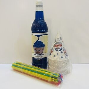 Blue Raspberry Snow Cone Syrup 1ct 750 Ml W 20 Cups Straws Free Shipping