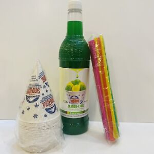 Lemon Lime Snow Cone Syrup 1ct 750 Ml W 20 Cups Straws Free Shipping