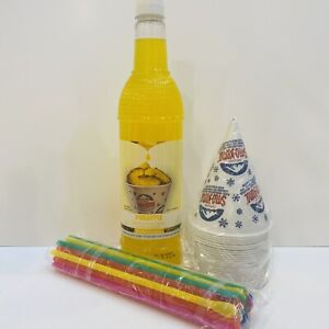 Pineapple Snow Cone Syrup 1ct 750 Ml W 20 Cups Straws Free Shipping