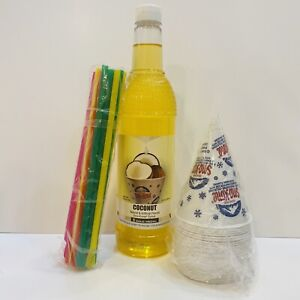 Coconut Snow Cone Syrup 1ct 750 Ml W 20 Cups Straws Free Shipping