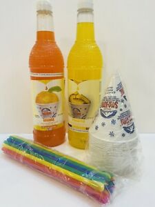 Pineapple Orange Snow Cone Syrup 2ct 750ml 20 Cups Straws Free Shipping