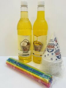 Pineapple Coconut Snow Cone Syrup 2ct 750ml 20 cups Straws Free Shipping
