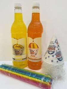 Pineapple Mango Snow Cone Syrup 2ct 750ml W 20 Cups Straws Free Shipping