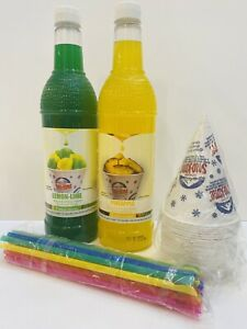 Lemonlime Pineapple Snow Cone Syrup 2ct 750ml 20 cups Straws Free Shipping