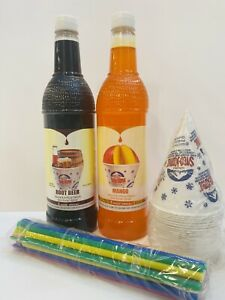 Rootbeer Mango Snow Cone Syrup 2ct 750ml 20 cups Straws Free Shipping