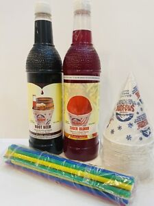 Rootbeer Tigers Blood Snow Cone Syrup 2ct 750ml 20 cups Straws Free Ship