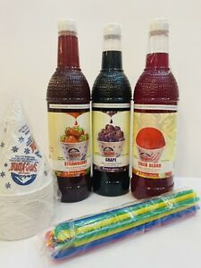 3 Ct Snow Cone Syrup 750 Ml W 20 Cups 20 Spoon Straws Free Shipping