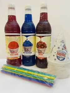 Snow Cone Syrup 750 Ml 3 Ct W 20 Cups Straws Free Shipping
