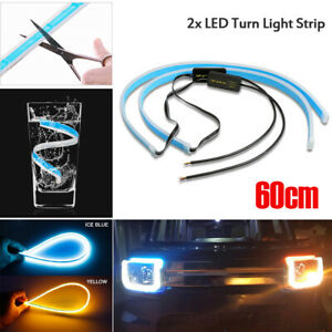 47 Car Led Drl Light Amber Sequential Flexible Turn Signal Strip Blue yellow