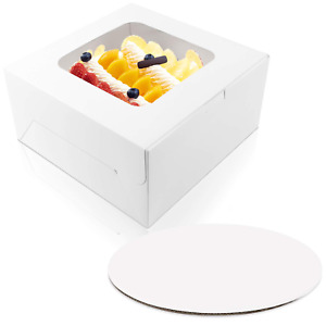 Moretoes 15 Sets 10 X 10 X 5 Inches Cake Bakery Boxes With Window And 10 Inches