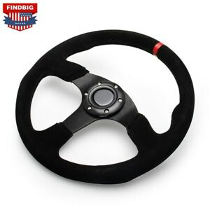 14 Inch 350mm Red Racing Suede Leather Steering Wheel Flat With Horn Button
