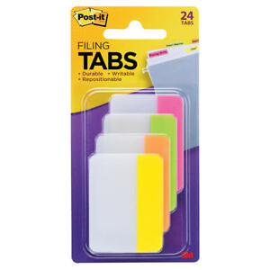 Post it Tabs 2 In Solid Assorted Bright Colors 6 Tabs color 4 Colors 24