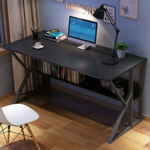 Modern Computer Table Desk Home Office Study Workstation Table W Shelf drawers