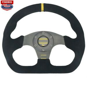13 Inch 325mm Universal Racing Flat Drift Steering Wheel Aluminum suede Leather