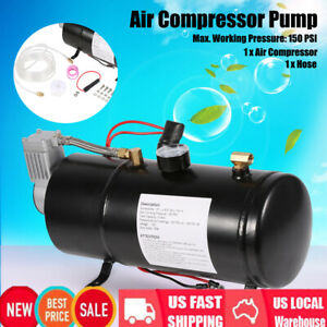 150psi Dc 12v Truck Pickup On Board Air Compressor Air Horn With 3 Liter Tank Us