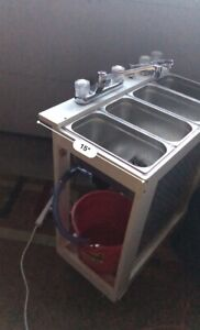 White Portable Commercial Sink 4 Basin