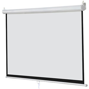 Manual Pull Down Projector 100 Inch 16 9 Projection Screen Theater Movie Indoor