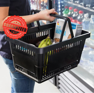 12 Pack Black Plastic Grocery Convenience Store Shopping Baskets Tote New