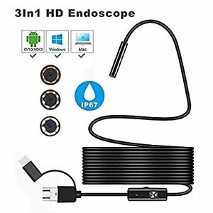 Pipe Inspection Camera Endoscope Video Sewer Drain Cleaner Waterproof Snake Usbc